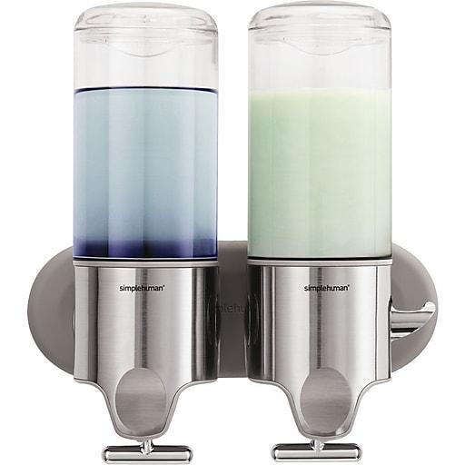 simplehuman® Wall-Mounted Double Pump Dispenser, Silver (BT1028)