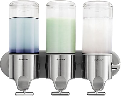 simplehuman® Wall-Mounted Triple Pump Dispenser, Silver