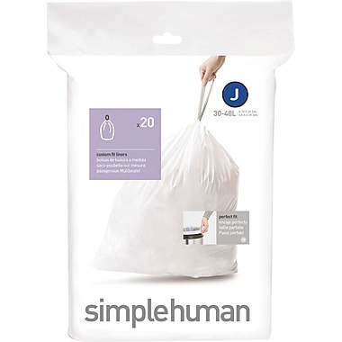 simplehuman Code J Custom Fit Trash Can Liner, (240 Count), 30-45 Liter / 8-12 Gallon