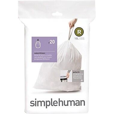 SimplehumanMD ® Sacs à poubelle sur mesure, code R, 2,6 gallons, 240 sacs/boîte