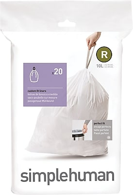 simplehuman Code R Custom Fit Trash Can Liner, (240 Count), 10 Liter / 2.6 Gallon