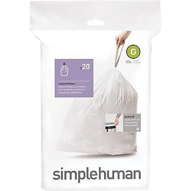 simplehuman® Custom Fit Trash Bags, Code G, 8 Gallon, 240 Bags/Box