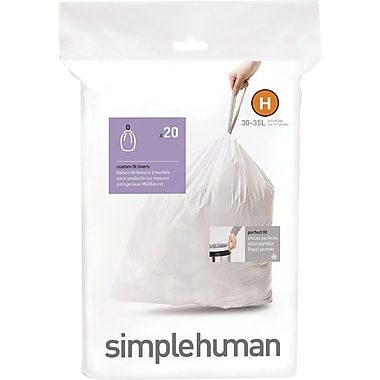 simplehuman® Custom Fit Trash Bags, Code H, 8-9 Gallon, 240 Bags/Box