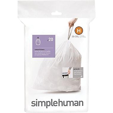 SimplehumanMD ® Sacs à poubelle sur mesure, code H, 30 à 35 L (8 à 9 gal), 240 sacs/boîte