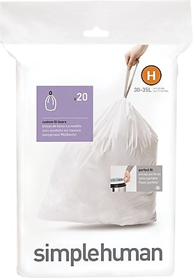 simplehuman Code H Custom Fit Trash Can Liner, (240 Count), 30-35 Liter / 8-9 Gallon