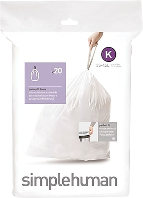 simplehuman Code K Custom Fit Trash Can Liner, (240 Count), 35-45 Liter / 9-12 Gallon