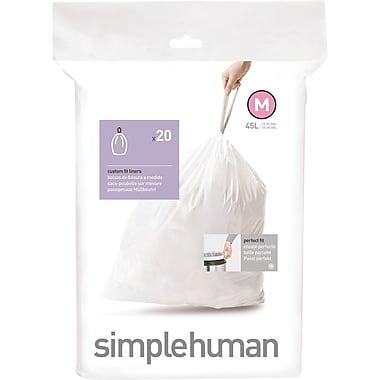 SimplehumanMD – Sacs à poubelle sur mesure, code M, 12 gallons, 240 sacs/boîte