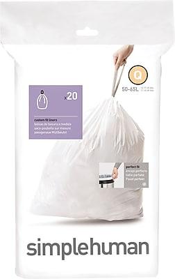 simplehuman Code Q Custom Fit Trash Can Liner, (240 Count), 50-65 Liter / 13-17 Gallon