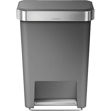 simplehuman® Rectangular Step Trash Can with Liner Pocket, Gray, 12 Gallon