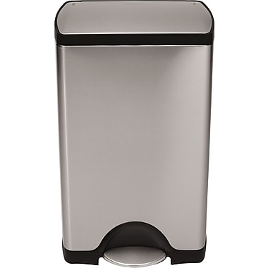simplehuman® Rectangular Step Trash Can, Stainless Steel, 10 Gallon