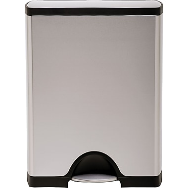 simplehuman® Rectangular Step Trash Can, Stainless Steel, 13 Gallon