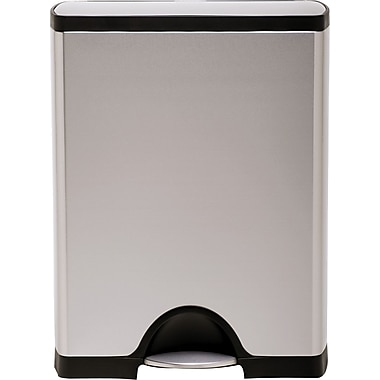 simplehuman® Rectangular Recycler Trash Can, Stainless Steel, 12 Gallon