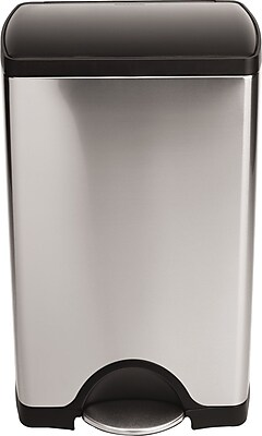 simplehuman® Rectangular Step Trash Can, Stainless Steel W/ Black Plastic Lid, 10 Gallon