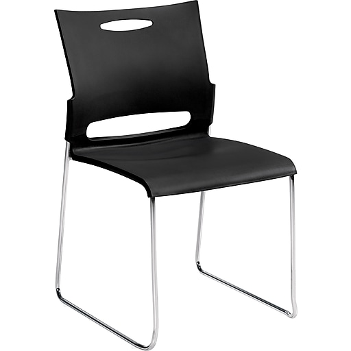 """Offices To Go® Armless Stacking Chair, Plastic, Black/Chrome, Seat: 17""""Wx17""""D, Back: 15""""Hx18""""W, 4/Pk"""