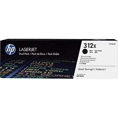 HP 312X (CF380XD) Black High Yield Original LaserJet Toner Cartridges, 2/Pack