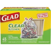 Glad® Recycling Tall Kitchen Drawstring Trash Bags, Clear, 13 Gallon, 45 Bags/Box