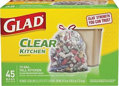 Glad® Recycling Tall Kitchen Drawstring Trash Bags, Clear, 13 Gallon, 45 Bags/Box