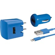 Delton Apple Certified Lightning 3PC Charger Kit For iPhone (5, 6, 6+) - Blue