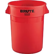 Rubbermaid Brute Plastic Trash Can with no Lid, Red, 32 gal. (FG263200RED)