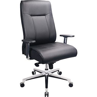 Tempur Pedic Leather Computer And Desk Office Chair, Fixed Arms, Black  (TP1001
