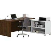 Pro-Linea L-Desk in White & Oak Barrel