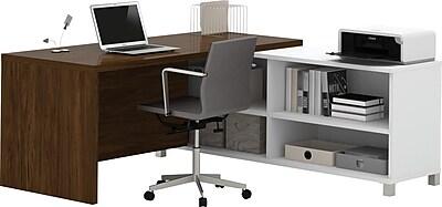 Bestar® Pro-Linea L-Desk in White & Oak Barrel