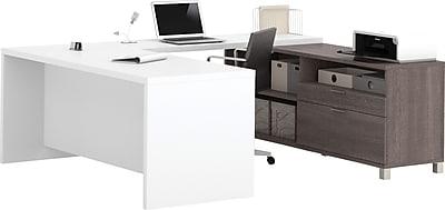 Bestar® Pro-Linea U-Desk in Bark Grey & White