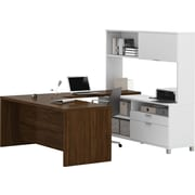 Pro-Linea U-Desk with hutch in White & Oak Barrel