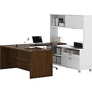 Bestar® Pro-Linea U-Desk with Credenza and Hutch in White & Oak Barrel