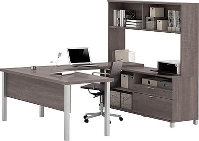 Pro-Linea U-Desk with hutch in Bark Grey