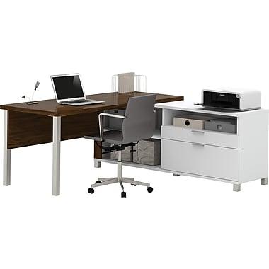 Pro-Linea L-Desk White & Oak Barrel