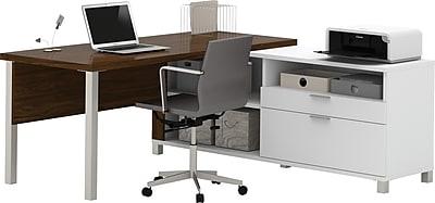 Bestar® Pro-Linea L-Desk White & Oak Barrel