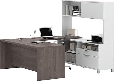 Pro-Linea U-Desk with hutch in White & Bark Grey