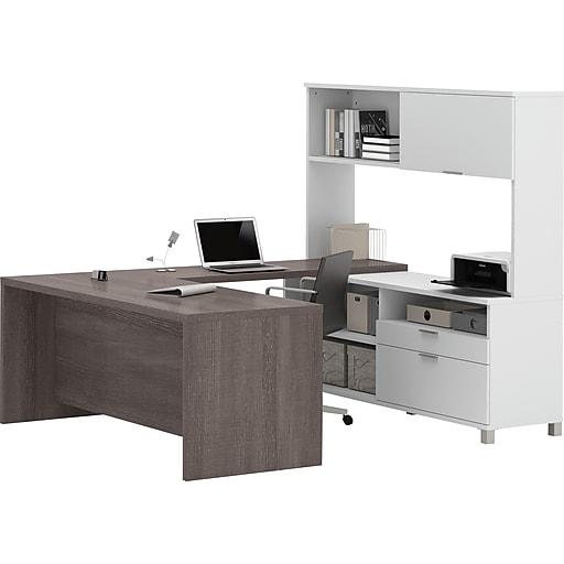 "Bestar® Pro-Linea 71"" U-Desk with Hutch, White/Bark Grey (120880-47)"
