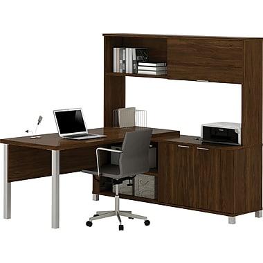 Pro-Linea L-Desk with hutch in Oak Barrel