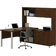 Bestar® Pro-Linea L-Desk with Hutch in Oak Barrel