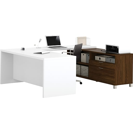 Bestar® Pro-Linea U-Desk in Oak Barrel & White
