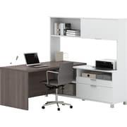 Pro-Linea L-Desk with hutch  White & Bark Grey