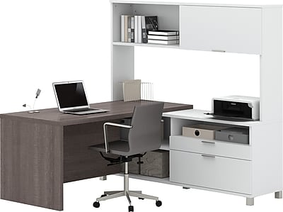 Bestar® Pro-Linea L-Desk with hutch White & Bark Grey