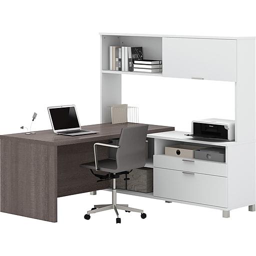 """Bestar® Pro-Linea 71""""W L-Desk with hutch White & Bark Grey (120882-47)"""