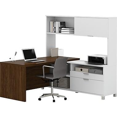 Pro-Linea L-Desk with hutch White & Oak Barrel