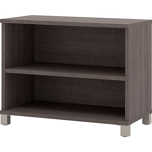 "Bestar® Pro-Linea 28"" Laminate 2-Shelf Bookcase, Bark Grey (120160-1147)"