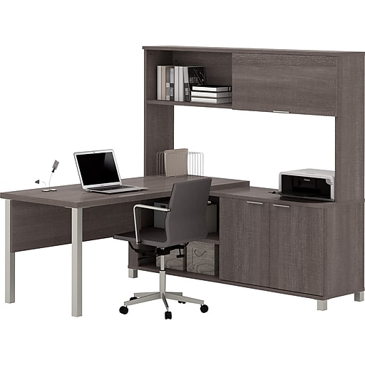 Bestar® Pro-Linea L-Desk with Hutch in Bark Grey