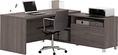 Bestar® Pro-Linea L-Desk in Bark Grey