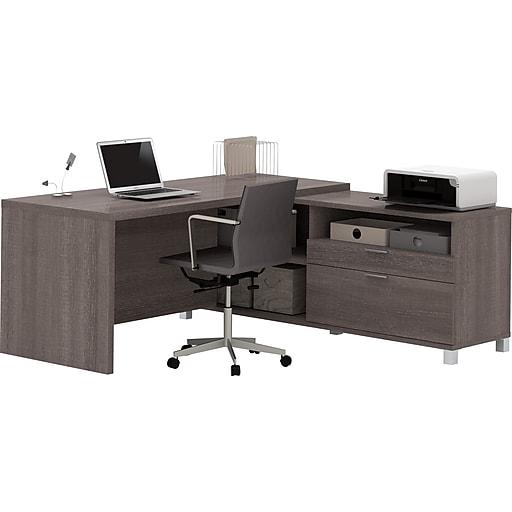 """Bestar® Pro-Linea 71""""W L-Desk in Bark Grey (120863-47)"""
