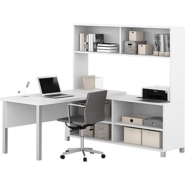 Pro-Linea L-Desk with hutch White