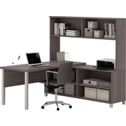 Pro-Linea L-Desk with hutch Bark Grey
