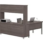 Bestar® Pro-Linea L-Desk with Hutch Bark Grey