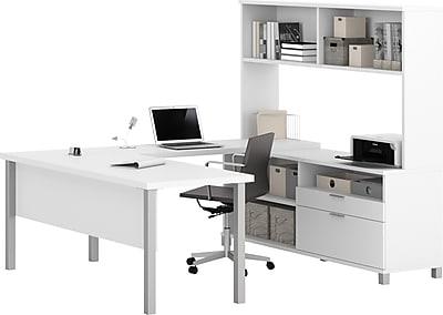 Pro-Linea U-Desk with hutch in White