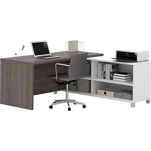 """Bestar® Pro-Linea 71""""W L-Desk in White & Bark Grey (120885-47)"""